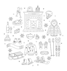 Winter activity icons vector image vector image