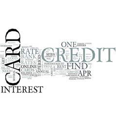 Zero percent credit cards text word cloud concept vector