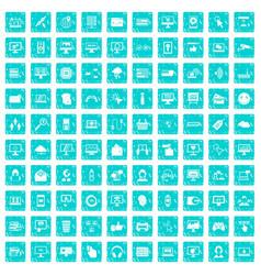 100 internet icons set grunge blue vector image