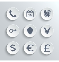Finance icons set - white round buttons vector image