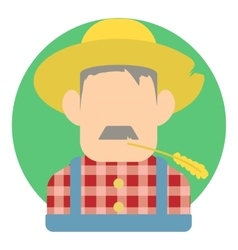 Avatar male farmer icon flat style vector