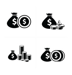 money bag and coins set vector image