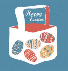 Greeting card with with easter eggs easter basket vector