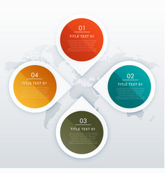 Circle and arrow style four steps infographics vector