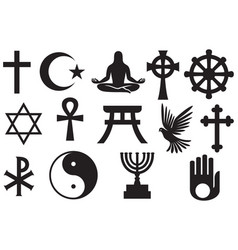 World religions symbols set vector