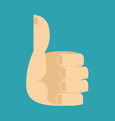 Thumb up isolated hand symbol well on blue vector