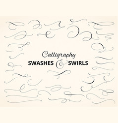 Set of custom decorative swashes and swirls white vector