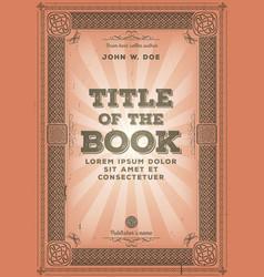 Vintage retro book cover design vector