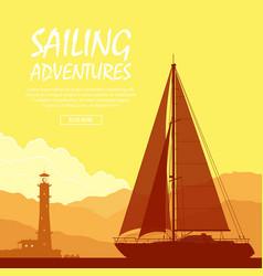 Sailing yacht at sunset vector