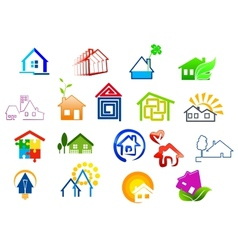 Colorful real estate and house icons vector
