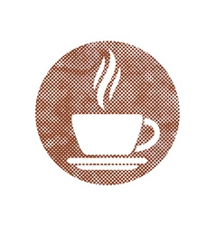 Cup of coffee icon with pixel print halftone dots vector