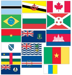 Set of 16 flags of countries started with b and c vector