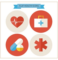 Flat health website icons set vector