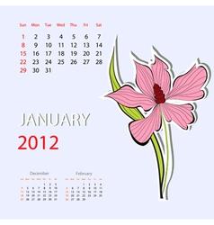 calendar for 2012 january vector image