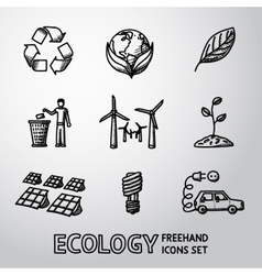 Set of handdrawn ecology icons - recycle sign vector