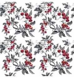 Watercolor garden rowan plant seamless pattern vector