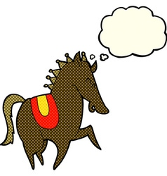 Cartoon prancing horse with thought bubble vector