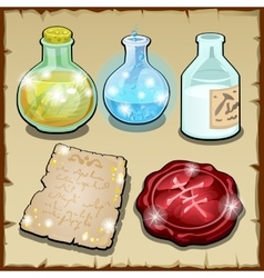 Three bottles of potion and wax vector
