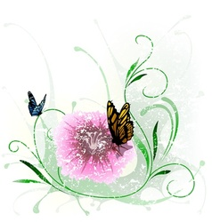 Floral splash and butterfly vector