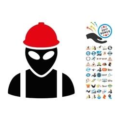 Alien Builder Icon with 2017 Year Bonus Symbols vector image vector image