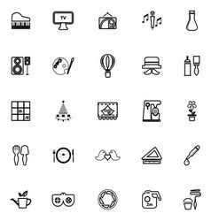 Art activity line icons on white background vector image vector image