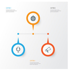 Audio icons set collection of mike dance club vector