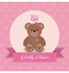 Baby Shower design teddy bear icon pink vector image vector image