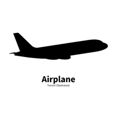 Black airplane silhouette air travel vector