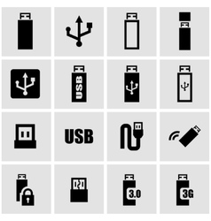 black usb icon set vector image