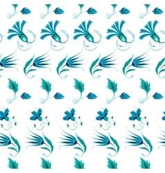 Blue Green Turkish Folk Floral Stripes vector image vector image