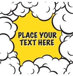 Cartoon pop art clouds frame background vector