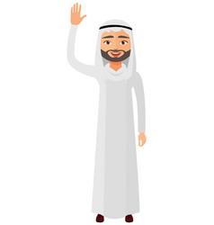 Cheerful arab iran businessman waving her hand vector