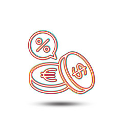 Coins money line icon cashback service vector