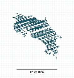 Doodle sketch of Costa Rica map vector image vector image