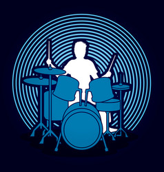 Drum player graphic vector
