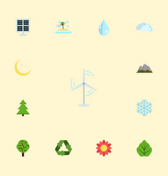 Flat icons wood electric mill sun power and vector