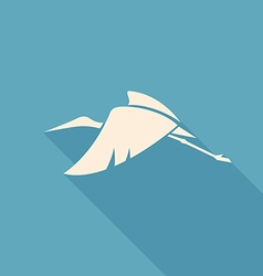 Fly white stork logo sign on blue background vector