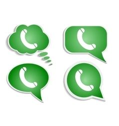 green think bubble phone icon vector image vector image