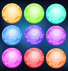 Group of colourful planets vector