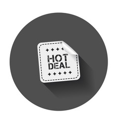 Hot deal sticker with long shadow vector
