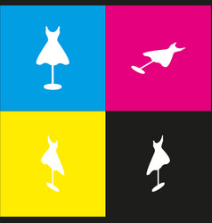 Mannequin with dress sign white icon with vector