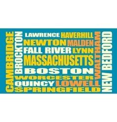 Massachusetts state cities list vector