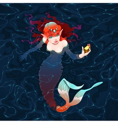 Mermaid in the water with a piece of gold vector image vector image