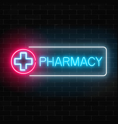 neon pharmacy glowing signboard on brick wall vector image vector image