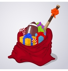Open santa claus bag full of gift and present vector