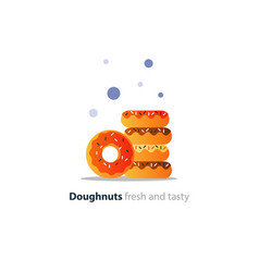 Pile of donuts tasty doughnuts with different vector