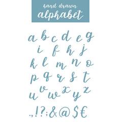 Script font alphabet written with a brush vector