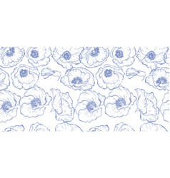 Seamless pattern with blue contoured poppy flowers vector