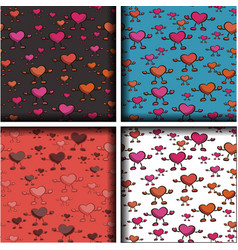 set of four patterns with hearts vector image vector image