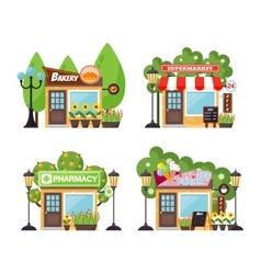 Shop facade set vector